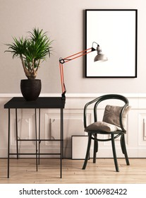 Chair with cushion, plant and picture frame in front of beige wall (3d rendering)