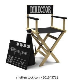 Chair director, movie clapper and megaphone on white background