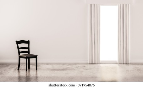 A chair on concrete polished floor with white wall and isolated window, 3d rendered