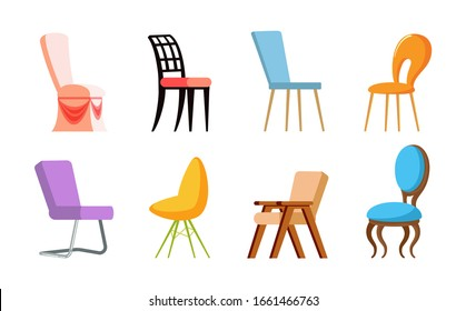Chairs with back, side and front view, wood and metal, plastic kinds of colorful place for sitting, soft element of furniture. Design of seat raster