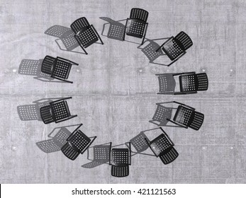 chairs in a circle 3D