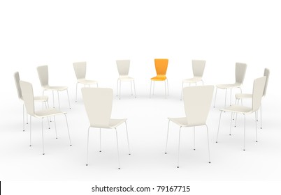 Chairs in a circle. Front view.