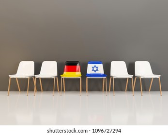 Chairs with flag of Germany and israel in a row. 3D illustration