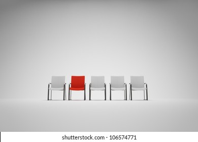Chairs with outstanding red one