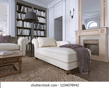 Chaise Chair in classic living room with library. 3d rendering