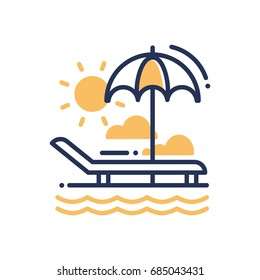 Chaise-longue - modern single line icon. An image of a deck-chair on a beach, an umbrella, sun, clouds, sea, ocean. Representation of relaxation, vacation, travel, good time