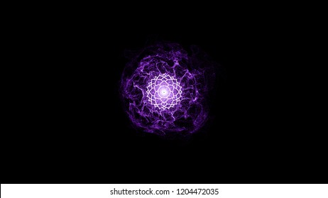 Chakra Sahasrara with particles. The seventh symbol is purple. 42 petals of lotus in the stroke. Isotherics. Yoga icon. Om sign