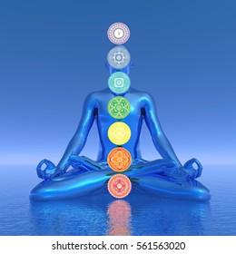 Chakras blue meditation - 3D render