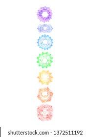 Chakras on white background Meditation Hand drawn sacral yoga background