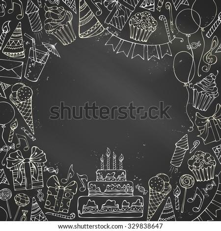 royalty free stock illustration of chalk birthday invitation