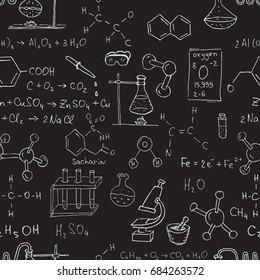 Chalk chemistry symbols on black blackboard. Seamless pattern. Raster copy.