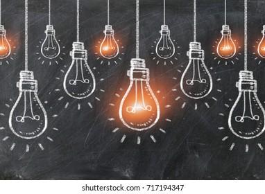 Chalk drawing bulb electric on black background,Light bulbs,chalk board