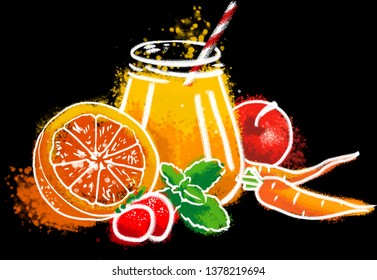 chalk drawing of juce with fresh fruits and berries on dark background