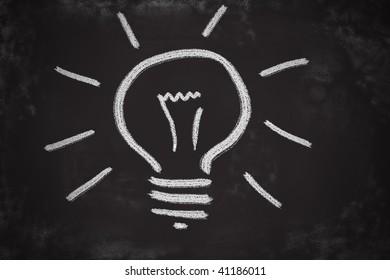 Chalk drawing of light bulb. Brilliant idea concept.