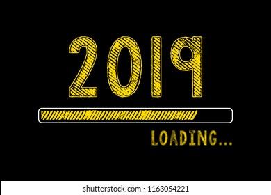 Chalk Drawing: New year 2019 loading on Blackboard