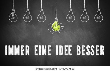 "Chalk drawing of single powered light bulb between other unlit bulbs above text ""always one idea ahead"" in German"
