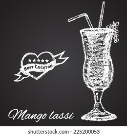 Chalk painted illustration of Mango lassi cocktail. Best cocktail theme.
