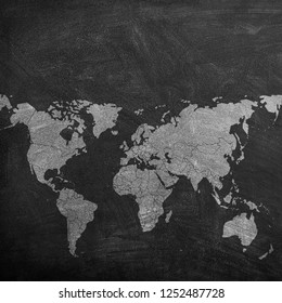 Chalk planisphere on blackboard