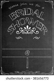 Chalkboard Bridal Shower Party Invitation Blackboard Bridal Shower  Party Celebration Invitation. Just add your  text in the empty spaces  to suit your location, date, name, etc.