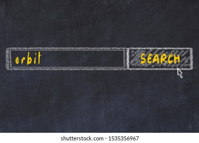 Chalkboard drawing of search browser window and inscription orbit.