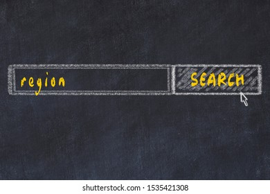 Chalkboard drawing of search browser window and inscription region.