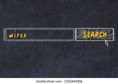 Chalkboard drawing of search browser window and inscription wires.