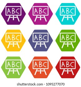Chalkboard with the leters ABC icon set many color hexahedron isolated on white illustration