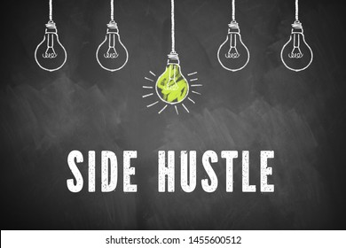 "chalkboard with lightbulbs and the message ""side hustle"""