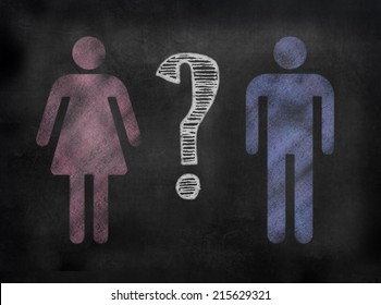 chalkboard sign in illustrative chalkboard style Female and male symbols with question mark