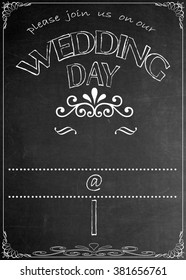 Chalkboard Wedding Day Party Invitation Blackboard Wedding Day Party Celebration Invitation. Just add your  text in the empty spaces  to suit your location, date, name, etc.