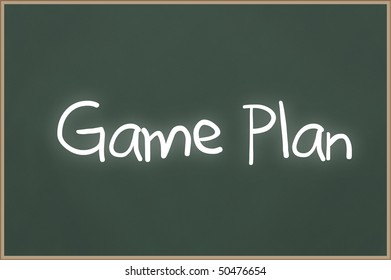 Chalkboard with wooden frame and the text Game Plan