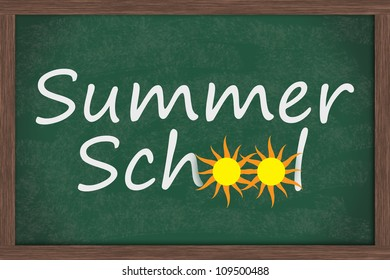 Chalkboard words Summer School with drawings of sun for the 0s, Summer School