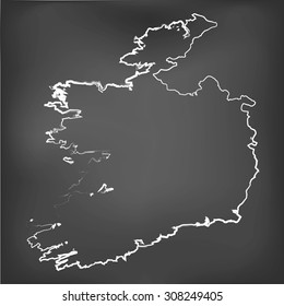 A Chalked map on a chalk board of  Ireland