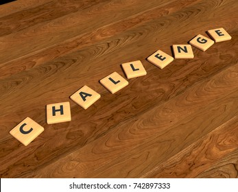 Challenge - wooden toy pieces on a table - word - 3d render