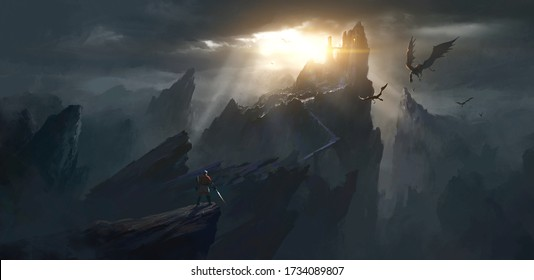 The challenger stands in front of the spooky castle, digital painting.