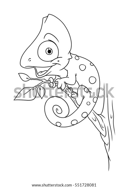 Chameleon Animal Coloring Pages Cartoon Illustration Stock ...