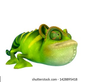 chameleon cartoon is crouched  in a white background. This chamaleon cartoon in clipping path is very useful for graphic design creations, 3d illustration