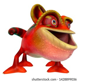 chameleon cartoon is happy and funny face in a white background side view. This chamaleon cartoon in clipping path is very useful for graphic design creations, 3d illustration