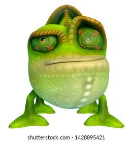 chameleon cartoon have a dubious face in a white background. This chamaleon cartoon in clipping path is very useful for graphic design creations, 3d illustration