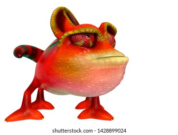 chameleon cartoon have a dubious face in a white background side view. This chamaleon cartoon in clipping path is very useful for graphic design creations, 3d illustration