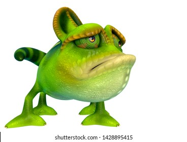 chameleon cartoon is so sad in a white background side view. This chamaleon cartoon in clipping path is very useful for graphic design creations, 3d illustration