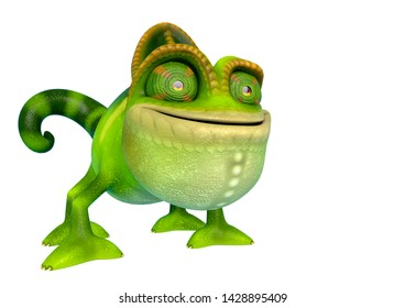 chameleon cartoon in a white background side view. This chamaleon cartoon in clipping path is very useful for graphic design creations, 3d illustration