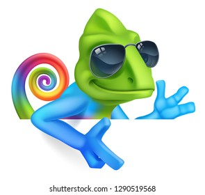 A chameleon cool cartoon lizard character in sunglasses or shades peeking around a sign and pointing