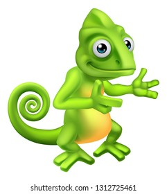 A chameleon green lizard cartoon character pointing at something illustration