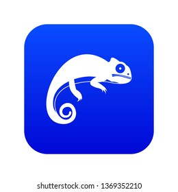 Chameleon icon digital blue for any design isolated on white illustration