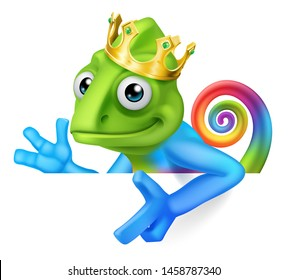 A chameleon king multicolored rainbow lizard cartoon character wearing a crown illustration