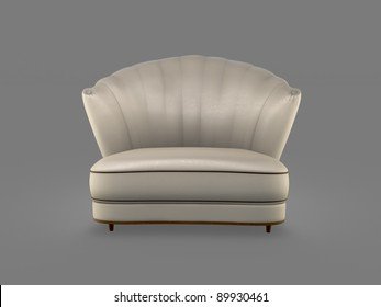champagne art deco sofa isolated on grey