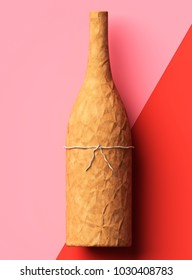 Champagne bottle wrapped in kraft paper, valentines day gift. 3d illustration