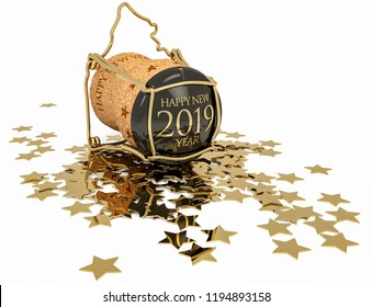 champagne cork and confetti of golden stars isolated on white, 3d illustration