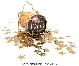champagne cork and golden stars confetti isolated on white, 3d illustration